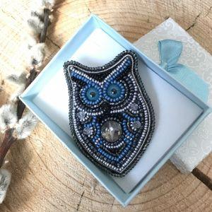 Синяя брошь Мудрая сова