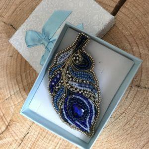 Синяя брошь Павлинье перо