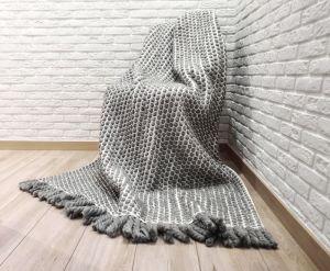 Декор для дому Плед з вовни меріноса плетений біло-сірий