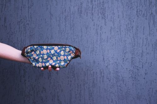 Кожаная поясная сумка с текстильной вставкой BTC 006