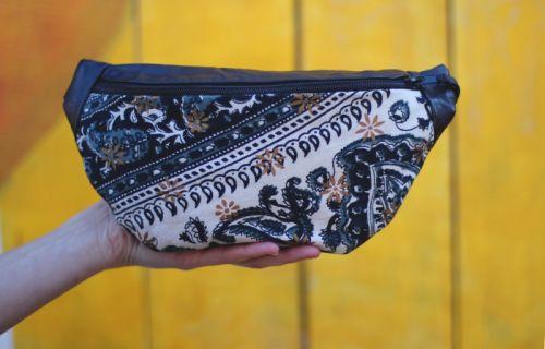 Кожаная поясная сумка с текстильной вставкой BTC 002