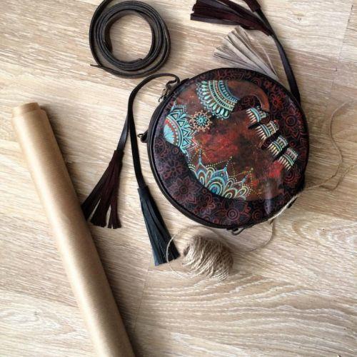 """Кожаная сумка drum boho с ручной росписью """"Индийский слон"""""""