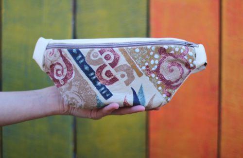 Кожаная поясная сумка с текстильной вставкой BTC 003