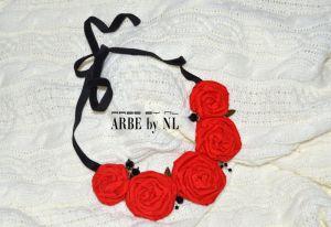 "Колье из текстиля Колье ""Red rose"""