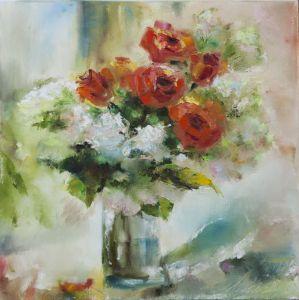 Нарисованные картины Красные розы