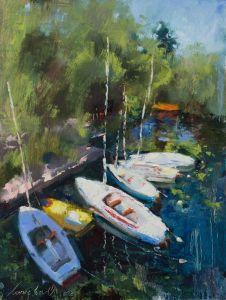Нарисованные картины Лодки