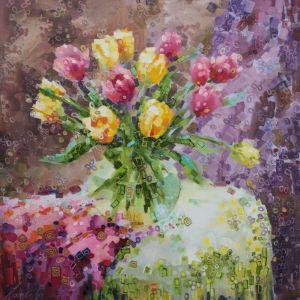 Нарисованные картины Тюльпаны в круглой вазе