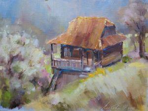Картини маслом  Будиночок в Карпатах