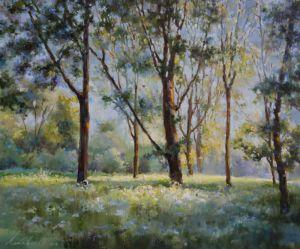 Нарисованные картины Утро в лесу