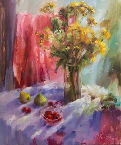 Нарисованные картины Полевые цветы