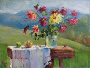 Нарисованные картины Георгины на фоне гор