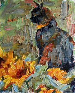 Картини маслом Чорний кіт з соняшниками