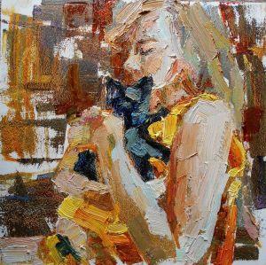 Картини маслом Дівчинка з чорним кошeням