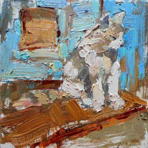 Картини маслом Сірe кошeня біля блакитних двeрeй