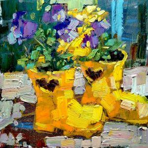 Нарисованные картины Цветы в резиновых сапогах