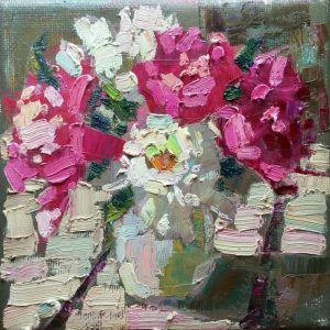 Нарисованные картины Белые и розовые пионы