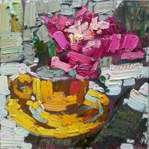 Нарисованные картины Розовый пион в желтой чашке