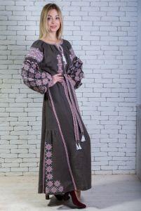 """Zirka Levytska Платье вышитое длинное (хаки) """"Говерляна"""""""