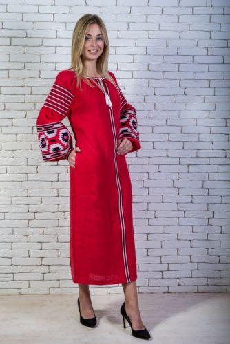 Купити Сукня вишита червона