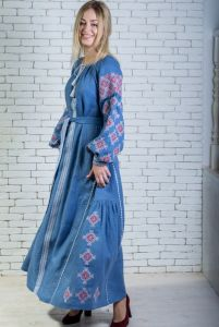 """Сукня вишита блакитна довга """"Горицвіт"""""""
