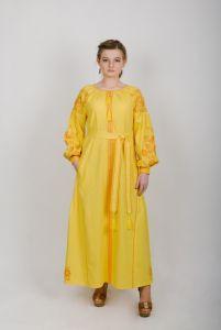 """Zirka Levytska Платье вышитое длинное желтое """"Дерево жизни"""""""