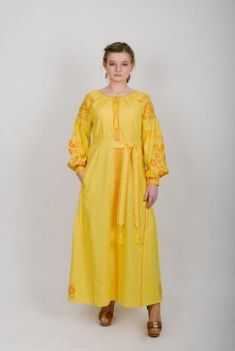 Купити Сукня вишита довга жовта