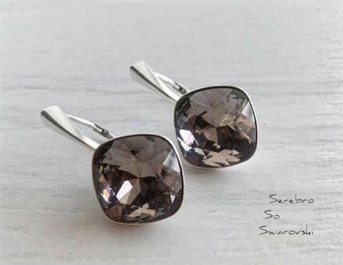 Серебряные серьги со Сваровски Greige