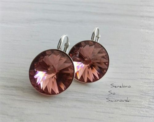 Серебряные серьги с кристаллами Сваровски Blush Rose