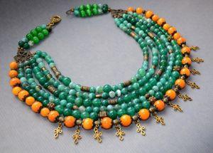 Ожерелье из кошачьего глаза Летние краски