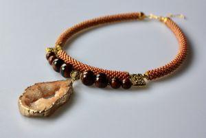 Ожерелье из бисера Персиковый нектар