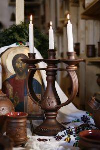 Керамика ручной работы Подсвечник на три свечи