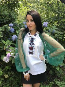 Вышитые рубашки женские Вышивка ручной работы Изумрудная