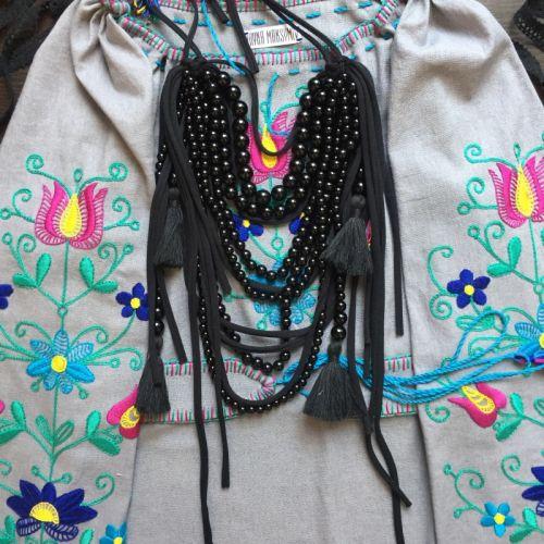 Ожерелье черное, длинное в стиле бохо