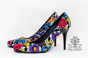 Взуття ручної роботи Туфлі жіночі з Борщівським орнаментом