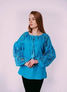 """Жіночі вишиванки ручної роботи  Блуза """"Рішельє"""" бірюзова"""