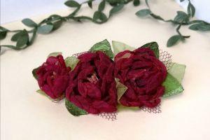 Заколки для волосся Заколка з червоними квітами