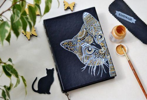 Щоденник з ручним розписом А6 Котик