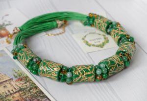 """Ожерелье из нефрита Ожерелье """"Магия зеленого"""""""