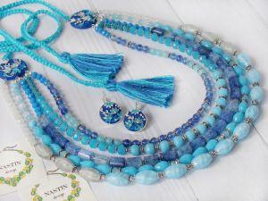 """Ожерелье из аквамарина Ожерелье и серьги """"Водограй"""""""