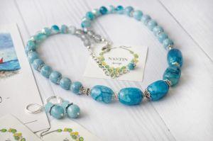 """Ожерелье из аквамарина Ожерелье и серьги """"Хрустальная вода"""""""