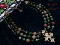 """""""Весеннее"""". Трехрядное ожерелье с гуцульским крестом-згардой"""