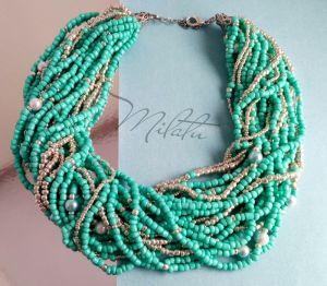 Ожерелье ручной работы Серебряная мята