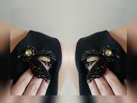 Брошь-жук с бархатными крыльями и кристаллами Сваровски