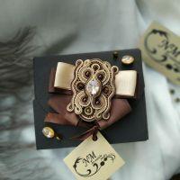 Сутажна брошка ′Bohemia′ с кристалами Swarovski
