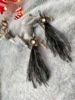 Серьги с кристаллами Сваровски и перьями