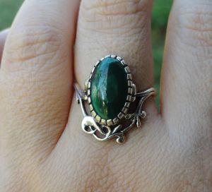 Кольца ручной работы Серебряное кольцо с малахитом (17,5)