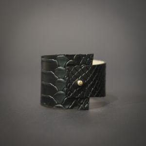 Чёрный браслет Браслет из натуральной кожи ассиметричный
