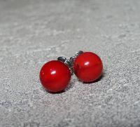 Серьги-пуссеты с закрутками - красный коралл, серебро