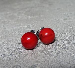 Морозова Светлана Серьги-пуссеты с закрутками - красный коралл, серебро
