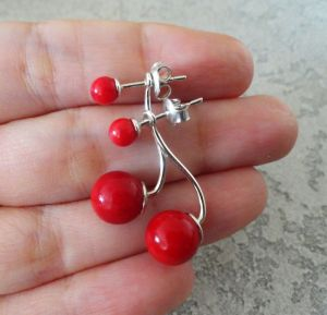 Красные серьги Серьги-джекеты  -  серебро, натуральный коралл